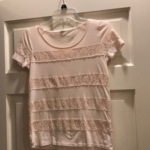JCrew  blush colored T-shirt with lace stripes